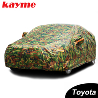 Kayme waterproof camouflage car coverssun protection cover for Toyota corolla avensis rav4 auris yaris camry prius Land Cruiser