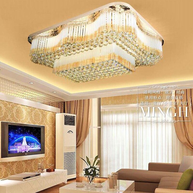 New European rectangular crystal lamp chandelier LED ceiling lamp luxury rectangular living room lamps lighting fixture led lamp