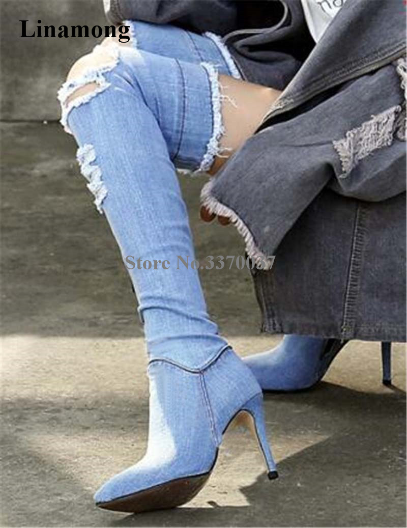 Spring Fashion Women Pointed Toe Over Knee Blue Black Denim Bandage Boots Cut-out Stretchable High Heel Long Boots black hollow out stretchable leggings