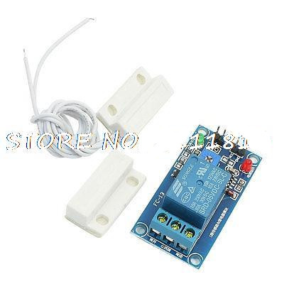 цена на DC 5V Electronic Magnetic Sensor Relay Module w Rectangle Reed Door Contact Switch
