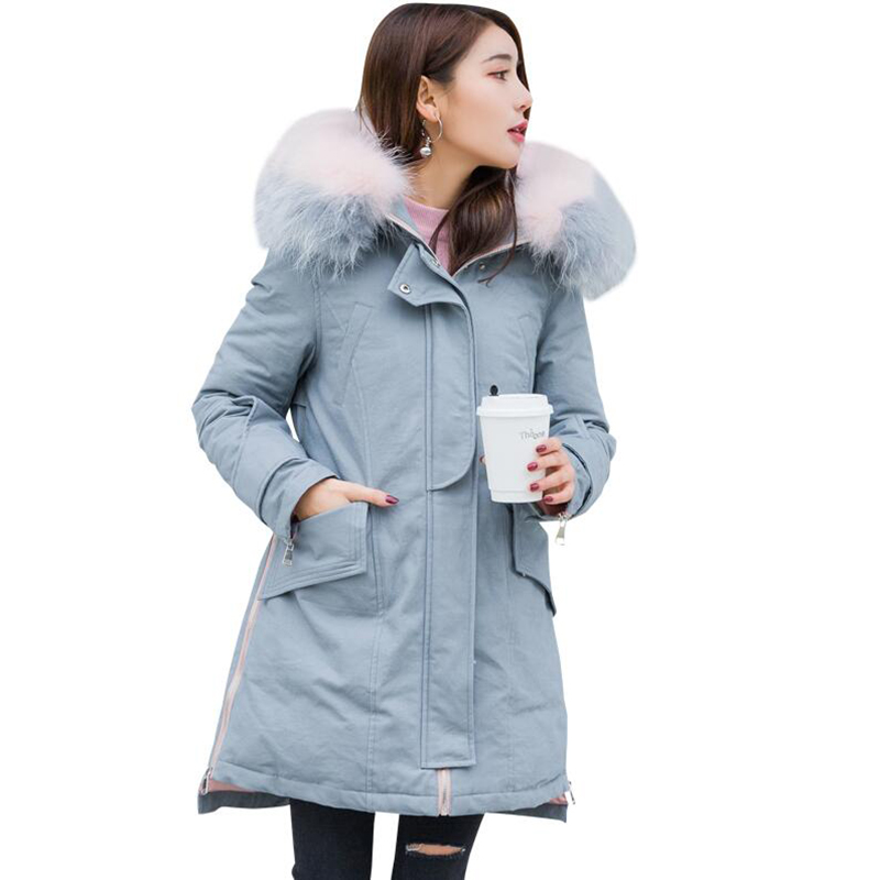 2018 New Women's Winter   Down   Jackets Female Long Real Fur Collar Hooded   Down     Coat   High Quality Thick Warm White Duck   Down   Parka