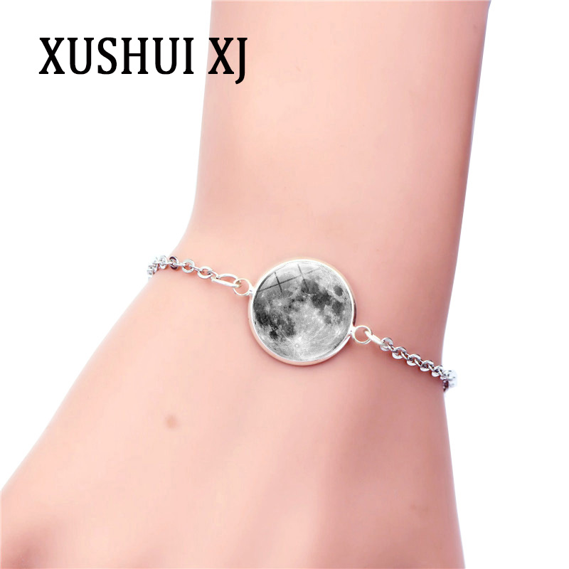 XUSHUI XJ 16mm Glass Moon Bracelet Charm Silver Jewelry Glass Cabochon Chain Bracelets for Women Gift