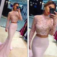 Elegant Long Sleeve High Neck Evening Dresses 2017 Sexy Two Pieces Pink Mermaid Party Gowns Lace See Through Vestido De Festa
