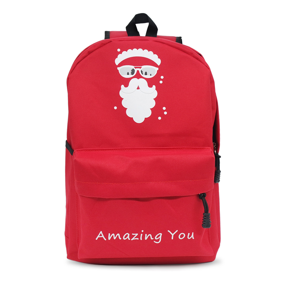 Christmas Backpack Santa Claus for Children Gifts Christmas Day Daypack Gift Red Shoulder Bag Backpacks santa claus with gifts flowers printed pillow case