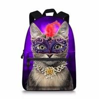 Jeremysport School Backpack Canvas Pink Purple Small Cats Laptop Daypack Student