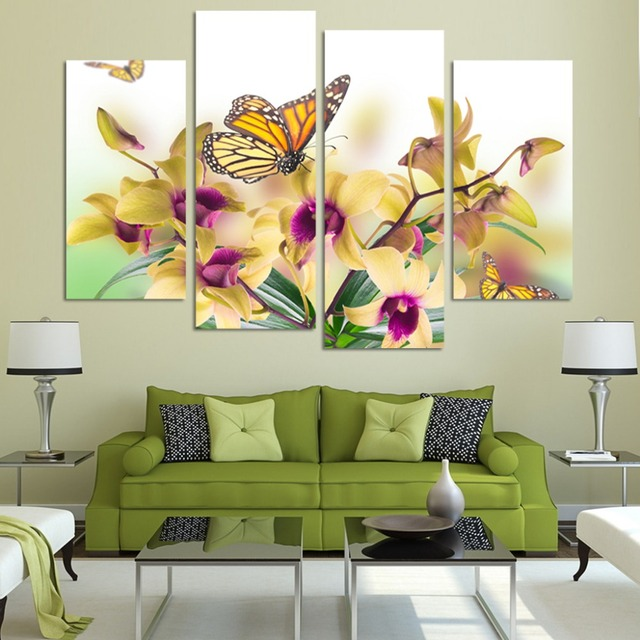 Aliexpress buy 4 pcs hot sell yellow flowers wall art picture 4 pcs hot sell yellow flowers wall art picture modern home decoration living room or bedroom mightylinksfo