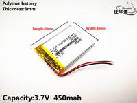 2019  new product Good Qulity 3.7V,450mAH,303040 Polymer lithium ion / Li-ion battery for TOY,POWER BANK,GPS,mp3,mp4