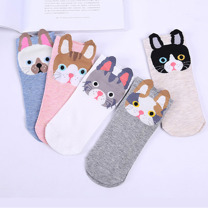 Women's Short Socks Cute Lovely Cartoon Animal Ear Socks Fashion Soft Cotton Funny Ankle Socks Meias Feminino Sokken Hosiery