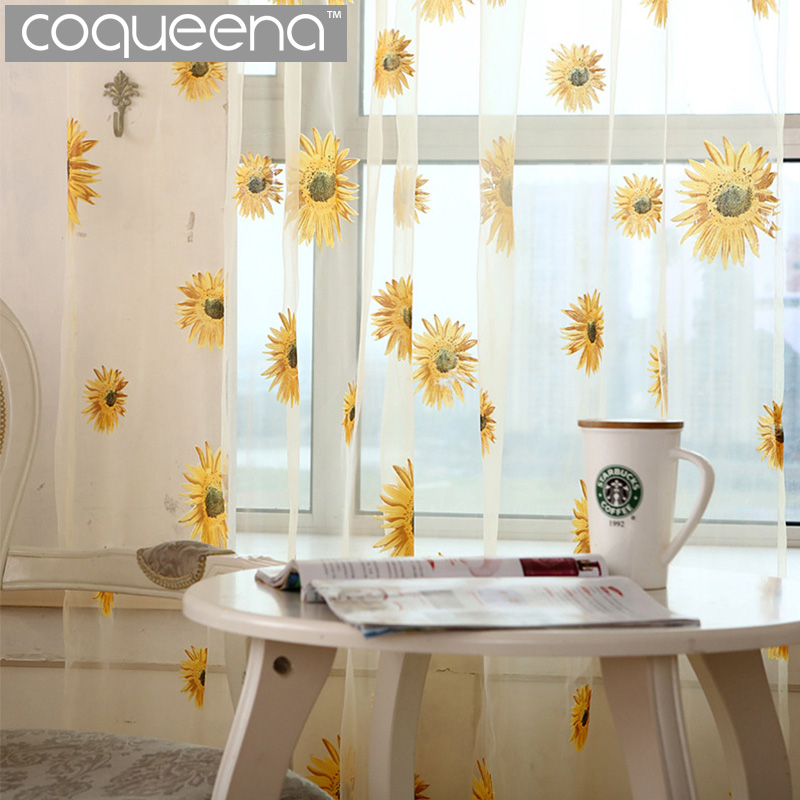 Sunflower Tulle Curtains For Kitchen Door Curtains For Living Room Bedroom Rustic Kitchen Curtains Yarn Curtain