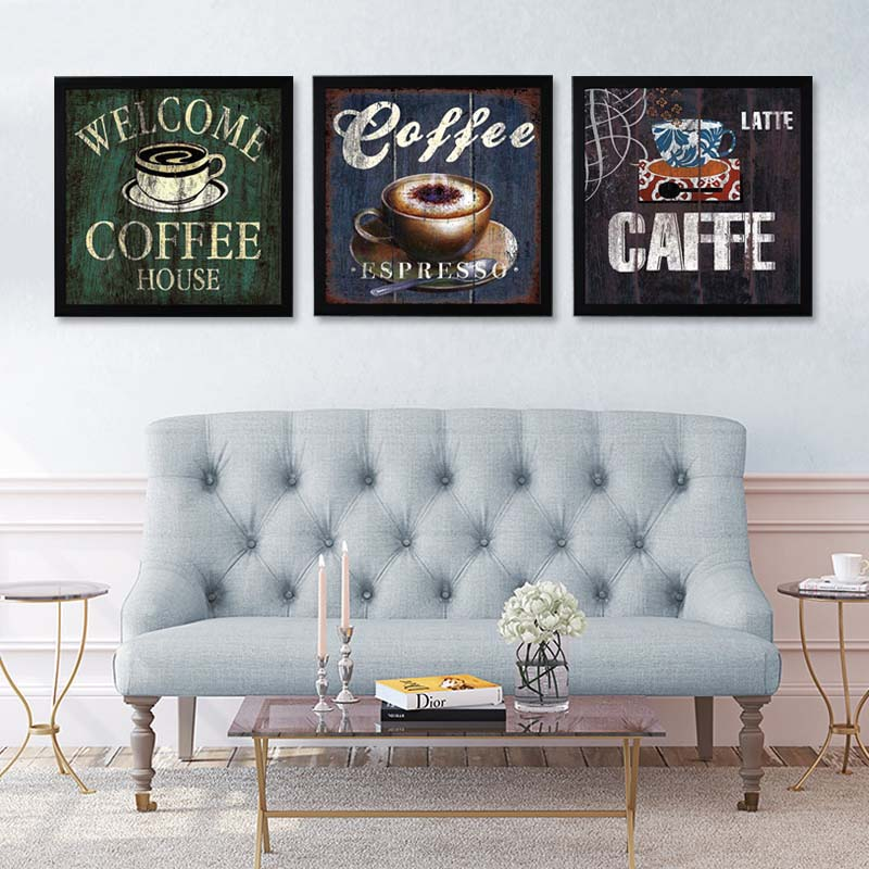 Coffee canvas painting print poster modern cuadros art - Kitchen canvas wall decor ...