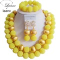 laanc nigerian wedding african beads jewelry set  Yellow Plastic Pearl Gold Finding G014