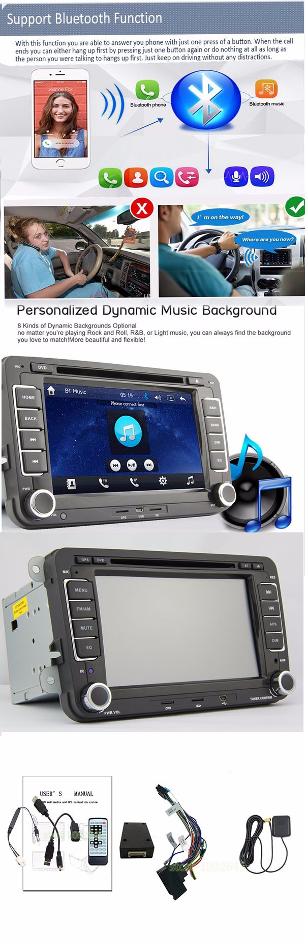 2 din 7 in car dvd for vw