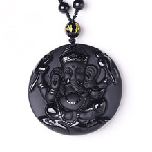 Natural Black Obsidian Pendant Carved Ganesh Elephant Lucky Pendants Free Necklace Fine Crystal Fashion woman man Amulet Jewelry все цены