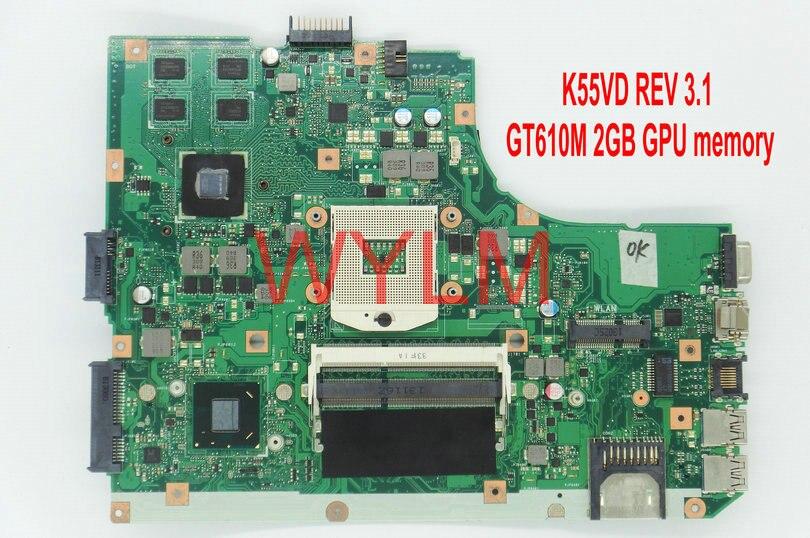 Бесплатная доставка для ASUS K55V A55V K55VD материнской основной плате REV 3.1 gt610m 2 г n13m-ge1-s-a1 100% тестирование