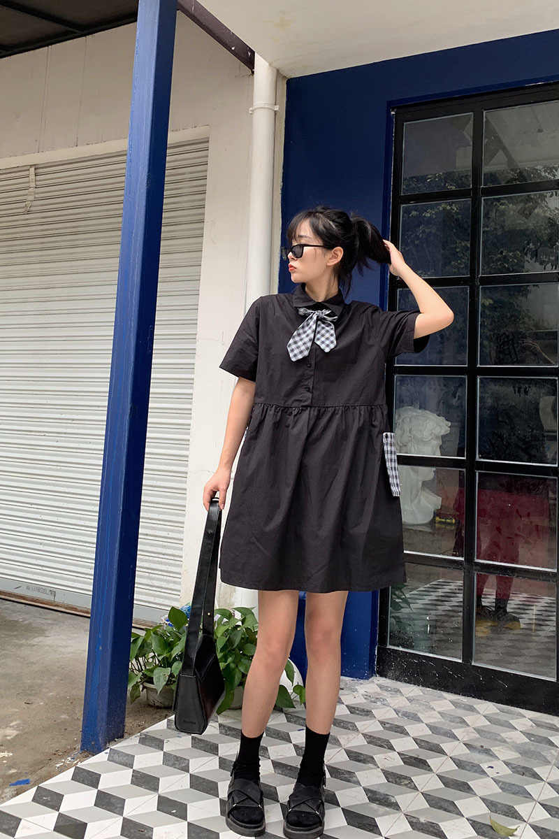 LANMREM/Новинка 2019 года; летняя модная женская одежда в тонком стиле с отложным воротником и короткими рукавами; платье-рубашка с карманами и бантом; WH30701L