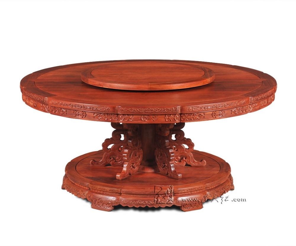 Round Table with Turntable 1.8M Rosewood Dining Furniture Solid Wood Annatto Board Redwood Living Office classical antique desk classical rosewood armchair backed china retro antique chair with handrails solid wood living dining room furniture factory set