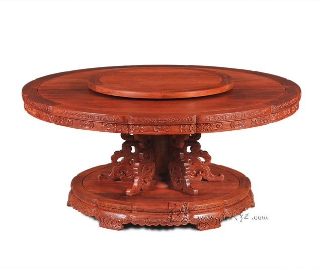 Round Table With Turntable 1 8m Rosewood Dining Furniture Solid Wood Annatto Board Redwood Living Office