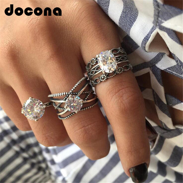 docona Silver Crystal Carving Rings set for Women Hollow Opal Knukle Midi Rings
