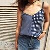 EQ 100 Silk Blue White Paild Patchwork Print Women Camis Tank Tops Sleeveless Lady Vest