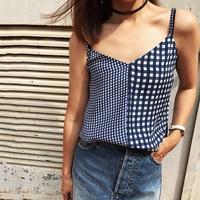 EQ 100% silk Blue white paild patchwork print women camis tank tops sleeveless lady vest