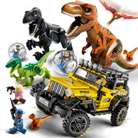 594 pieces World Jurassic 2 dinosaur Tyrannosaurus Rex escape building blocks Jurassic figures Bricks Rex model Toys