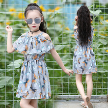 Teens Girls Dress Butterfly Print Princess Elegance Chiffon Sleeveless Party Flower Dress Cute Kids Beach Dresses