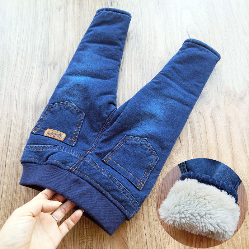 Jeans Children Pants Baby-Boys Straight Thicken Casual New Winter Plus for 1-6yrs Velvet title=