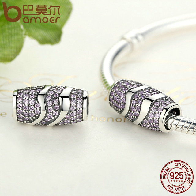 Sterling Silver Pink Curved CZ Beads Charm