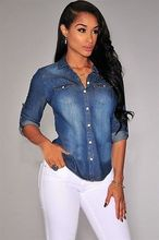 2016 Fashion Retro Women Casual Blue Jean Denim Long Sleeve Shirt Tops  Jacket