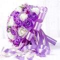 Púrpura Ramo de Novia Artificial 45 unids Artificial flor Color de Rosa con La Cinta Grande de La Boda Ramo de Flores Titular De La Novia de dama de Honor