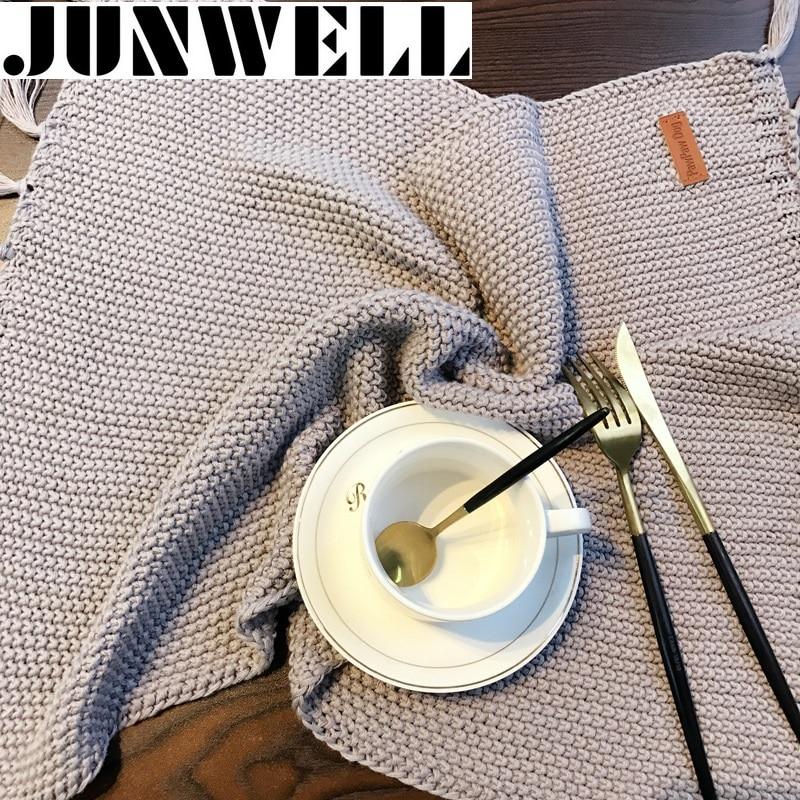 2 STKS Set Franse Stijl Kwastje Fringe Katoen Gebreide Tafel Placemat - Thuis textiel