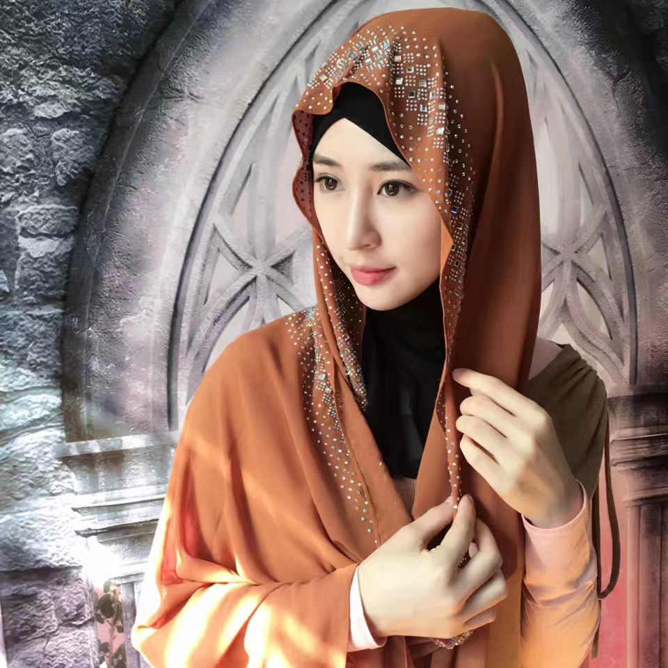 Fashion diamonds women's scarf high quality Turkish Indonesian muslim  chiffon hijab women's headwear girl's cap 180*90