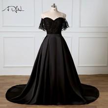 01bc2de494 ADLN Dwa Kawałki Suknie Wieczorowe Robe de wieczór Chic Black Lace Krótki  Strona Suknia z Odpinanym Spódnica 2018 Sukienka