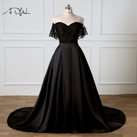 ADLN Two Pieces Evening Dresses Robe de Soiree Chic Black Lace Short Party Gown with Removable Skirt 2018 Prom Dress