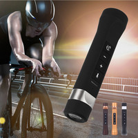 2019 New Small fuselage design Outdoor Flashlight Torch waterproof Bluetooth Speaker Power Bank FM Radio for Bicycle Bikes