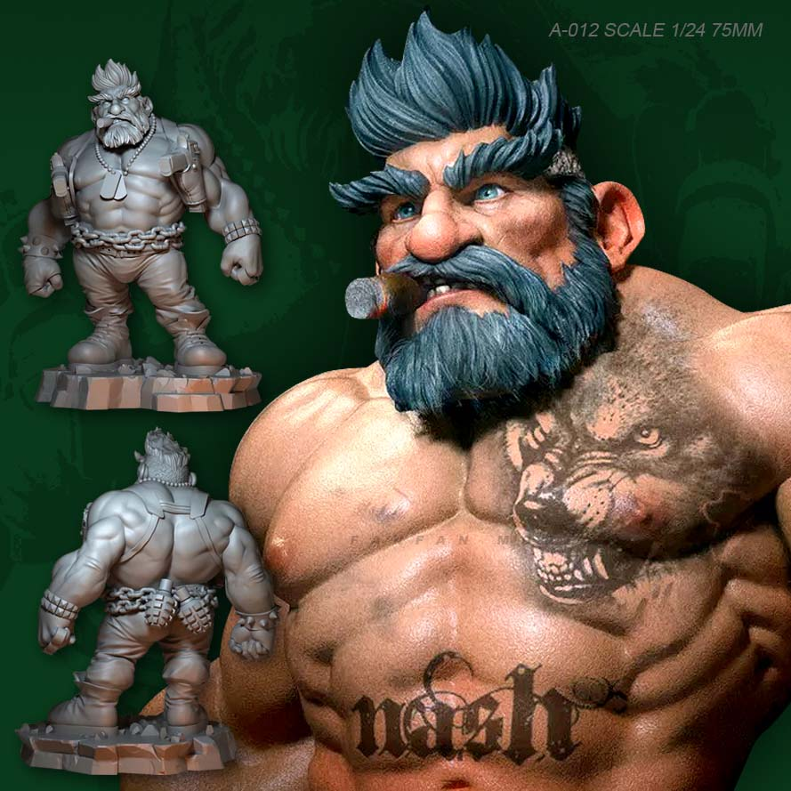 1/24 Figure Kits (75mm) Qq Muscle Men's Double-head Resin Soldier Colorless And Self-assembled  A-012
