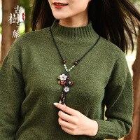 Винтажные деревянные ожерелья, женское длинное ожерелье с цветком, подвеска на веревке, этническое каменное ожерелье, модные ювелирные изд...