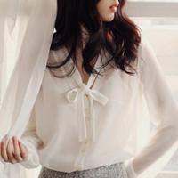 2015 Spring New Women V Neck Bow Tie Loose Pearl Chiffon Shirt Ol White Blouse Shirt