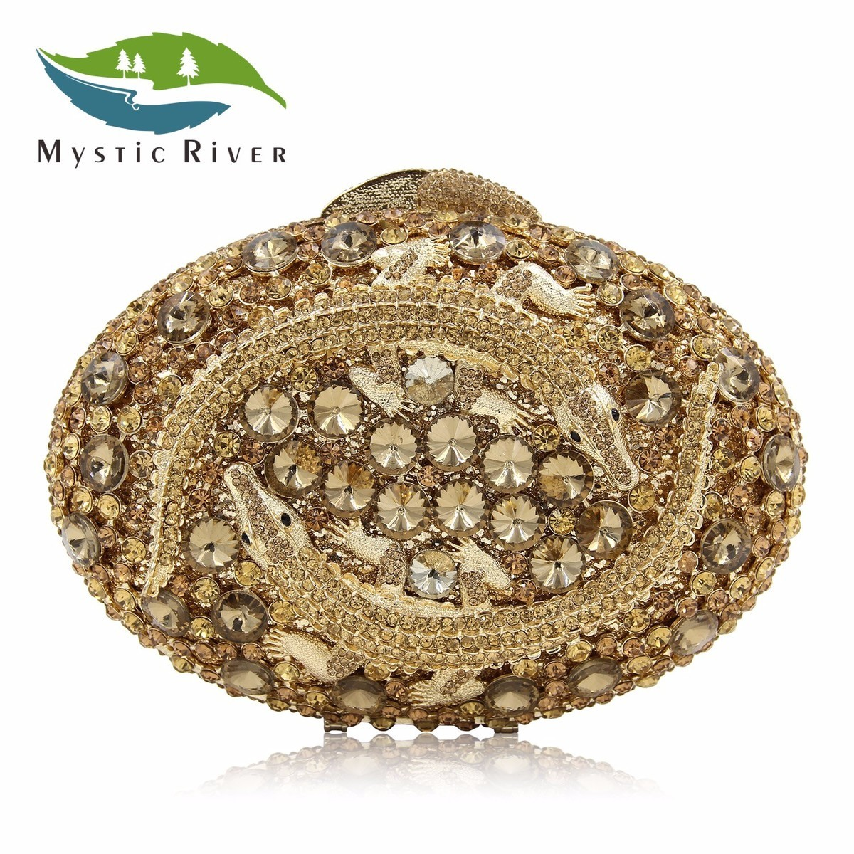 Mystic River Women Luxury Crystal Clutch Evening Bag Two Crocodile Clutches Bags Hollow Out Party Purses Dark Gold the dark river
