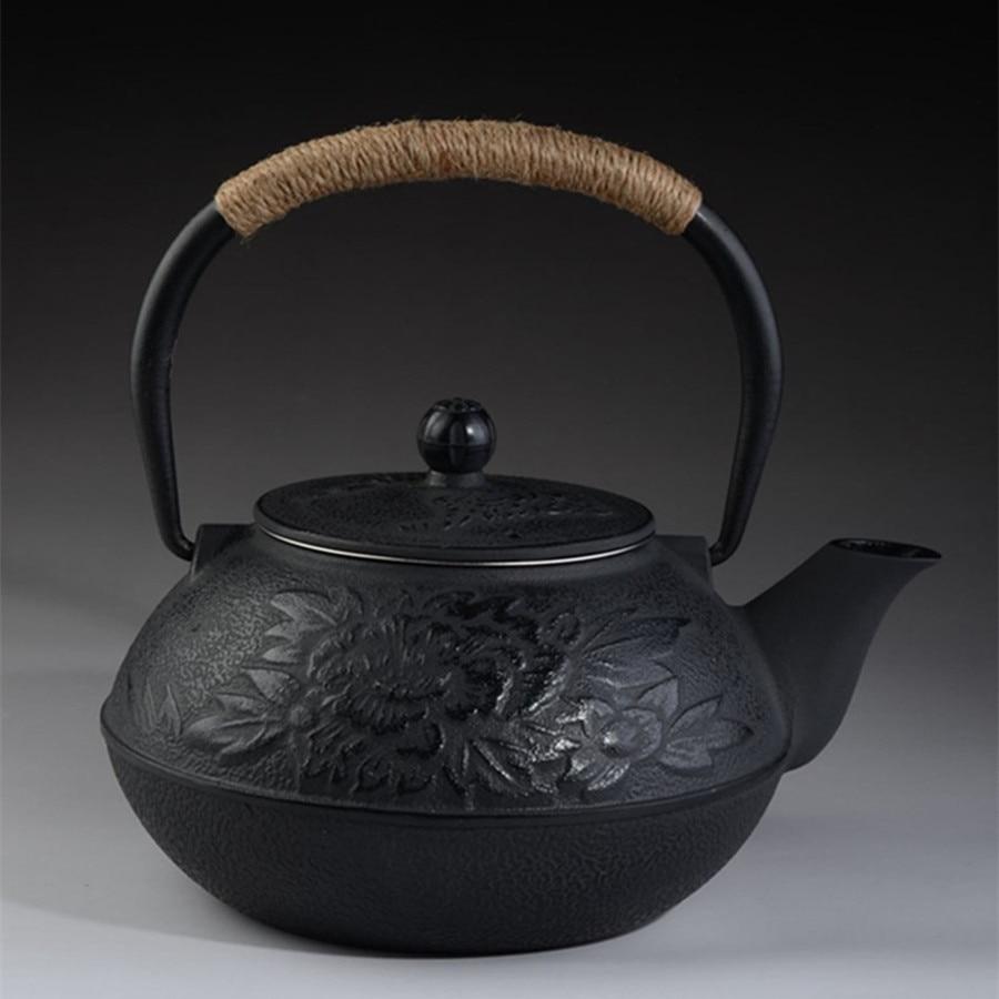 Cast Iron Tea pot Set Japanese TeaPot Tetsubin Kettle With Metal Net Filter 900ml Peony Kung