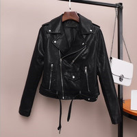 Faux Leather Motorcycle Biker Jackets Female Slim Fit Moto Jacket Women Short Coats Veste Cuir Black