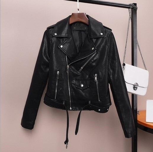 Womens Faux Leather Motorcycle Biker Jackets Female Slim -2178
