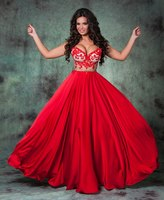 Sexy See Through Red Lace Evening gown Long Red Floor Length 2018 Arabic Dubia Kaftan Moroccan mother of the bride dresses