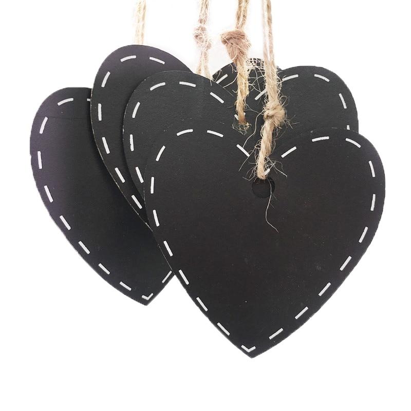 10pcs Mini Wooden Hanging Blackboard With Hemp String Love Heart  Shape Chalkboard Luggage Label Message Board Hang Tags