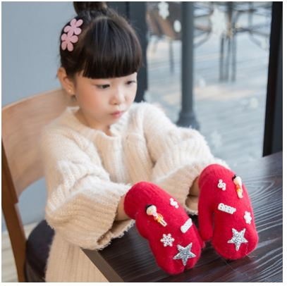 GLV842 CBwinter thickening velvet children warm font b gloves b font girl children rabbit fur fingerless