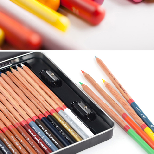 Marco 12/24/36/48/72/100/120 Oily colored pencils  lapices de colores for Coloured Drawing Pencil Set Art Supplies crayons 2