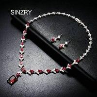 SINZRY elegant bridal dazzling jewelry set cubic zirconia crystal flower wedding chockers necklace jewelry sets for Women Gift