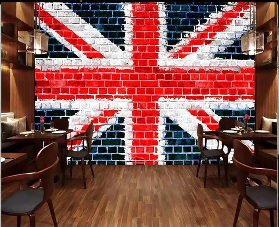 Us 1474 51 Off3d Wallpaper Custom Photo Wallpaper Living Room Mural Brick Wall British Flag Painting Sofa Tv Background Wallpaper For Wall 3d In