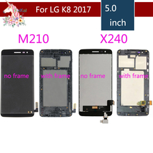 For LG K8 2017 LCD Aristo M210 MS210 US215 M200N X240 X240F X240H X240K LCD DIsplay Touch Screen Digitizer Assembly with frame for lg m210 k8 2017 m210 lcd display screen touch digitizer screen black and silver glass touchscreen with logo in stock