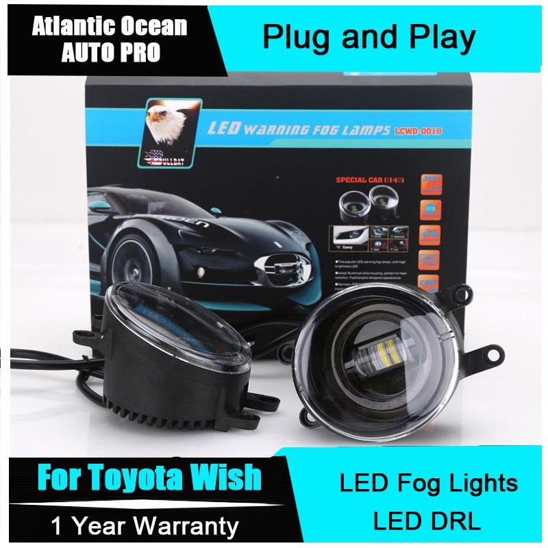 AUTO PRO For Toyota wish led fog lamps+LED DRL+turn signal lights LED fog lights Car Styling LED Daytime Running Lights